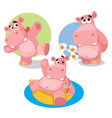 funny hippos on a white background vector image