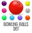set of realistic bowling balls isolated vector image