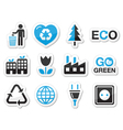 Ecology green recycling icons set vector image