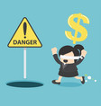 blindfolded business woman running to find money vector image