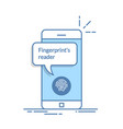 smartphone unlocked with fingerprint button vector image