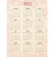 european vector pink floral calendar 2012 starting vector image