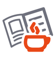 Cup and book sign vector image