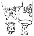Happy kids stand by blanks vector image