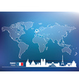 Map pin with Paris skyline vector image