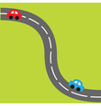 Background with road and cartoon cars vector image