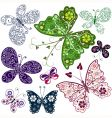 abstract butterflies set vector image vector image