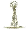 Woodcut windmill vector