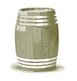 Engraved Wooden Barrel vector image