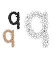 Floral letter q with blooming flowers vector image