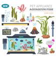 aquarium appliance icon set flat style isolated vector image
