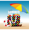 bag for beach summer with accessory colorful vector image