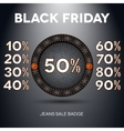 Black friday sale label with percents vector image