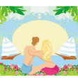 couple on tropical vacation abstract frame vector image