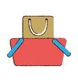 drawing basket shopping bag gift vector image