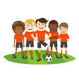 Football or soccer team on the field with ball vector image