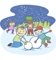 kids making a snow man vector image