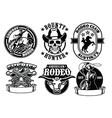 set of cowboy badge vector image
