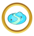 Ski slope of the snow mountain icon vector image