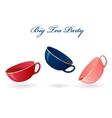 Three colorful cups Big tea party vector image