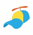 Yellow and blue propeller cap icon cartoon style vector image