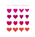 simple assorted valentine hearts basic love motif vector image vector image