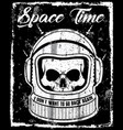 astronaut black and white skull t shirt graphic vector image vector image