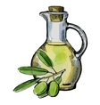 olive oil with olives vector image