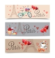 Paris watercolor symbols banners vector image