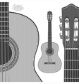 Acoustic Guitar in engraving style vector image