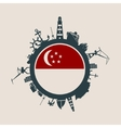 Cargo port relative silhouettes Singapore flag vector image