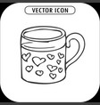 mug with hearts hand drawing icon vector image