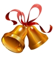 Two gold Christmas jingle bell with red ribbon vector image