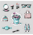 fashion elements stickers or badges hand drawn vector image vector image