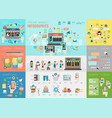 online market infographic set with charts and vector image vector image