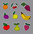 fruits and berries stickers vector image vector image