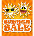 Summer sale background with smiling sun vector image