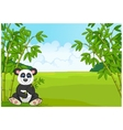 Cartoon cute panda in the bamboo forest vector image vector image