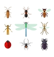 Icon set of insects in flat style vector image vector image