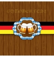 Oktouberfest background Two mugs of beer on a vector image