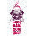 happy new year greeting card with portrait vector image