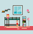 kids room with bed and window boy and girl flat vector image