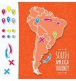 Orange hand drawn South America map with map pins vector image