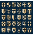 Sset of gold heraldic shields vector image