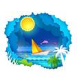 tropical sea with sun vector image