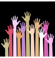 colorful up hands on black background vector image