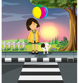 Girl and dog crossing the road vector image vector image