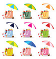 bag for beach with stuff color set vector image