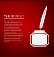 feather and inkwell flat icon on red background vector image