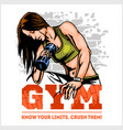 fitness club and gym label athletic woman with vector image